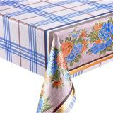 Клеенка ПВХ тканевой основа 1,37*20м голубая клетка цветы Лазер Вальтери (1/1)
