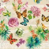 Клеенка ПВХ на нетканой основе 1,4*20м бабочки на бежевом Dekorama (1/1)