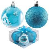 Набор  голубых шаров 4шт, диаметр 6см PB6-4TDG-B (2шт с рисунком+2шт сверкающие)