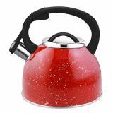 Чайник из нерж. стали  2,5 л. со свистком, красный с белыми точками ARTE Mallony (1/12)