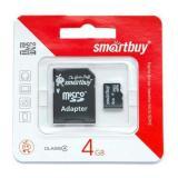 Карта памяти micro SDHC 4GB Class10 Smartbuy с адаптером SD (1/1)
