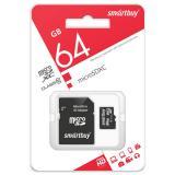 Карта памяти micro SDHC 64GB Class10 Smartbuy с адаптером SD LE (1/1)