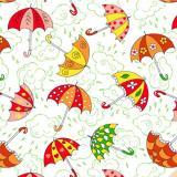 Ткань фланель хлопковая  детская красные зонты 90см*50м плотность 175гр Красный Октябрь (1/1)