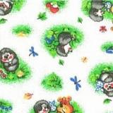 Ткань фланель хлопковая детская ёжики 90см*50м  плотность 175гр Красный Октябрь (1/1)