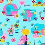 Ткань фланель хлопковая  детская голубая 90см*50м плотность 175гр Красный Октябрь (1/1)