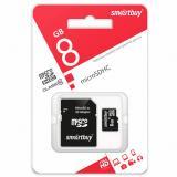 Карта памяти micro SDHC 8GB Class10 Smartbuy с адаптером SD (1/1)