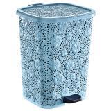 Ведро пластиковое для мусора  6 л с педалью голубое АЖУР Ddstyle (1/8)