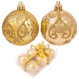 Набор  золотых шаров 6шт, диаметр 6см PBD6-6-834-G с узором