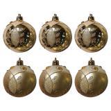 Набор  золотых шаров 6шт, диаметр 6см  Зимний