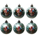Набор  голубых шаров 6шт, диаметр 6см  Зимний пейзаж