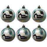 Набор  бирюзовых шаров 6шт, диаметр 6см  Зимний пейзаж