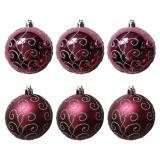 Набор  бордовых шаров 6шт, диаметр 6см  Традиции