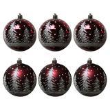Набор  бордовых шаров 6шт, диаметр 8см  Снежный лес