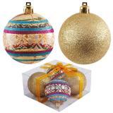 Набор  золотых шаров 4шт, диаметр 7см PB7-4TDG-G (2шт с узором+2шт сверкающие)