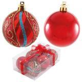 Набор  красных шаров 6шт, диаметр 6см PB6-6TDSH-R (3шт с узором+3шт однотонные)