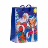 Пакет бумажный подарочный 11*14*6см рис. дед мороз и снегурочка на синем НОВЫЙ ГОД АВ-принт (1/12)