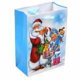 Пакет бумажный подарочный 11*14*6см рис. дед мороз и снегурочка на голубом НОВЫЙ ГОД АВ-принт (1/12)