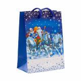 Пакет бумажный подарочный 11*14*6см рис. дед мороз и снегурочка на конях НОВЫЙ ГОД АВ-принт (1/12)