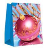 Пакет бумажный подарочный 11*14*6см рис. шар на голубом НОВЫЙ ГОД АВ-принт (1/12)