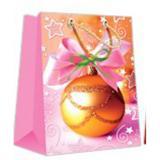 Пакет бумажный подарочный 11*14*6см рис. шар на розовом НОВЫЙ ГОД АВ-принт (1/12)