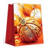 Пакет бумажный подарочный 11*14*6см рис. шар на золотом НОВЫЙ ГОД АВ-принт (1/12)
