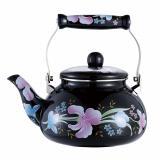 Чайник эмалированный 1,5 л черный с цветами Grace (1/12)