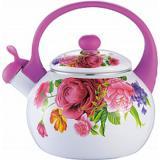 Чайник эмалированный 2,5 л бело-розовый с цветами Grace (1/6)
