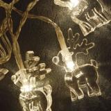Гирлянда  Олени  10 ламп, длина 1,20м, прозр.шнур, батарейки 2*АА (не входят в комплект)