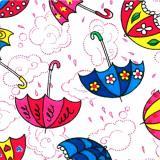 Ткань фланель хлопковая детская белая зонты 90см*51м плотность 175гр  Красный Октябрь  (1/1)
