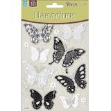 Стикер ПВХ 12,5*17см бабочки черно-белые мини Room Decor (1/12)