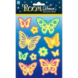 Стикер ПВХ 11,5*9,5см светящиеся бабочки мини Room Decor (1/12)