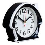 Будильник пластиковый 11,7*10,5*4,5 см черный с белым КЛАССИКА Рубин (1/10)