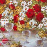 Клеенка ПВХ на нетканой основе 1,4*20м бокал и цветы Dekorama (1/1)