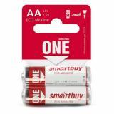 Батарейка алкалиновая 1,5V АА упак 2 шт Smartbuy ONE (2/60)