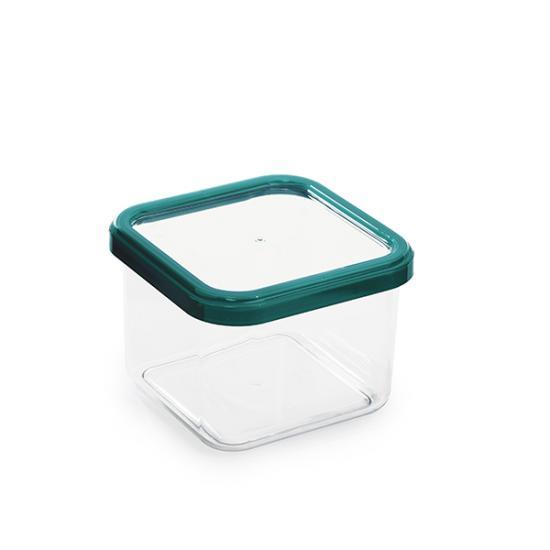 Банка пластиковая для сыпучих продуктов 0,6 л квадратная CUBBO BRIGHT Полимербыт (1/24) - 1
