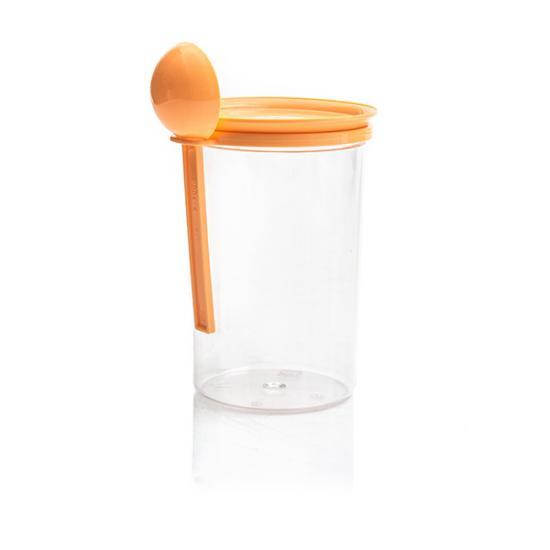 Банка пластиковая для сыпучих продуктов 0,7 л с ложкой Полимербыт (1/50) - 1