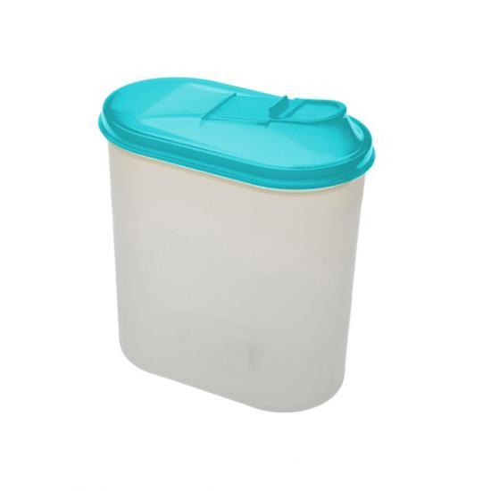 Банка пластиковая для сыпучих продуктов 2 л овальная Полимербыт (1/18) - 1